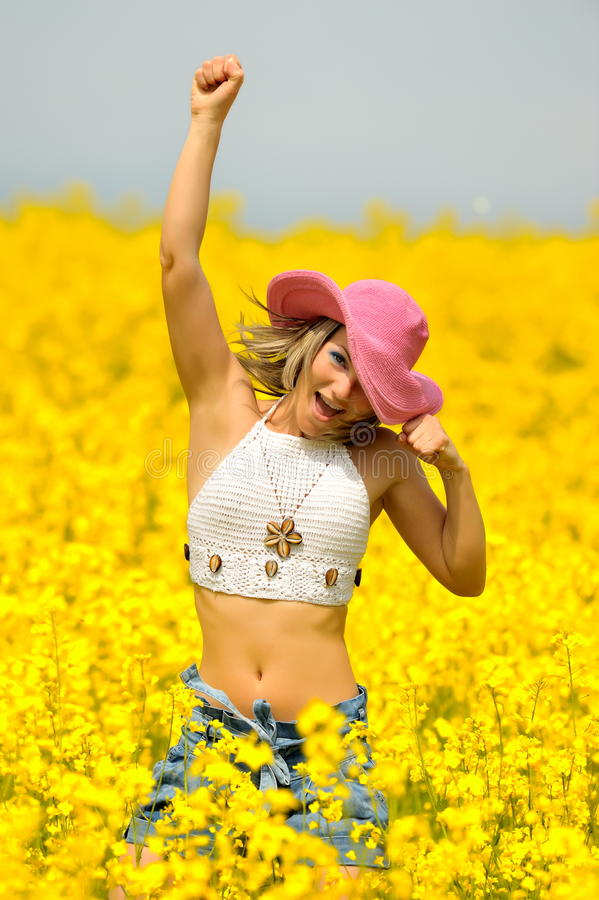 Beautiful Happy Woman On Field Royalty Free Stock Images
