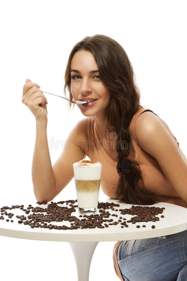 Download Beautiful Happy Woman At A Table With Latte Stock Photo - Image: 23903278