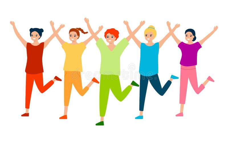 Beautiful happy women train, play sports, dance. Sports group warm-up, dance training, zumba, fitness, gym, health training. Beautiful girls train, play sports royalty free illustration