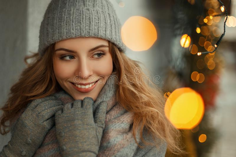 Beautiful happy young woman with an amazing smile in fashionable stock photo