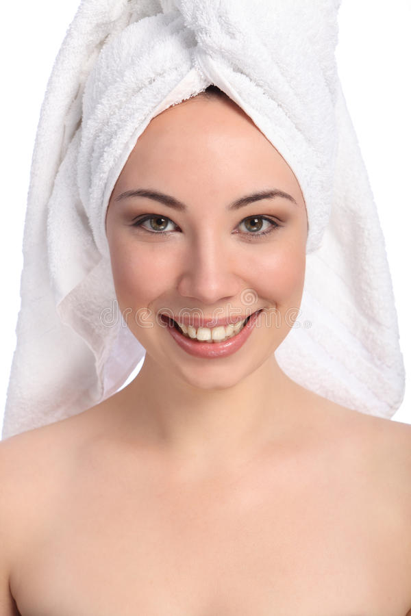 Beautiful happy young woman bath towel on her head royalty free stock image