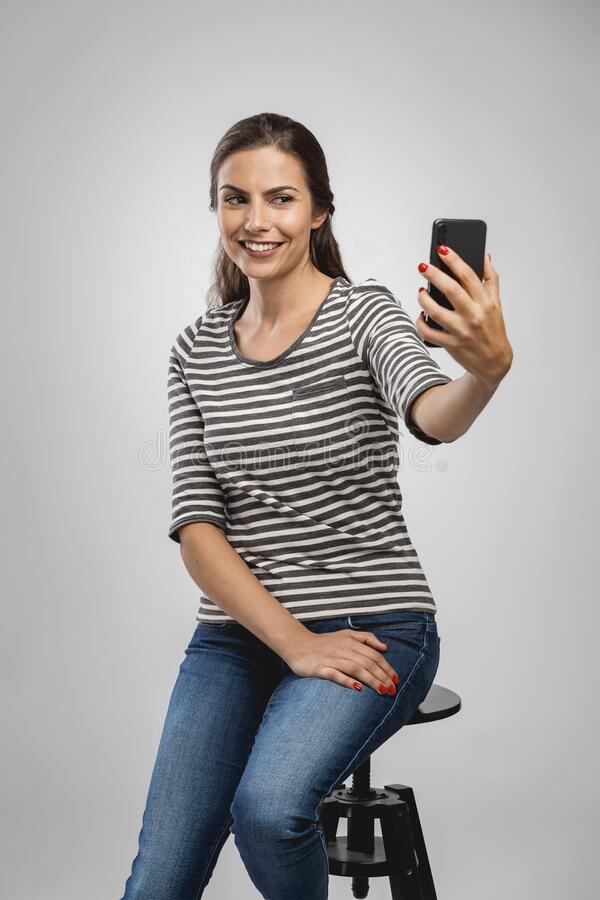 A selfie for my social networks royalty free stock photography