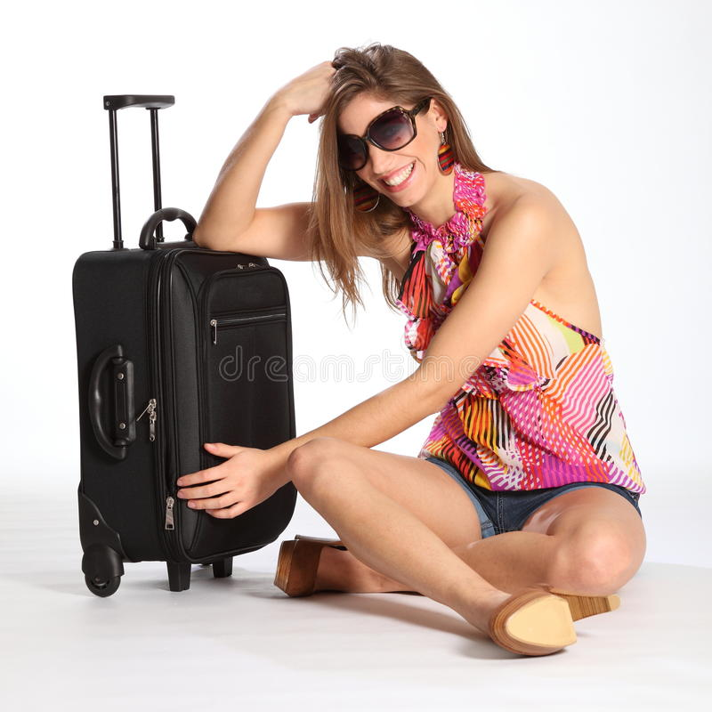 Download Beautiful Happy Young Woman Sitting With Suitcase Stock Image - Image: 18037013