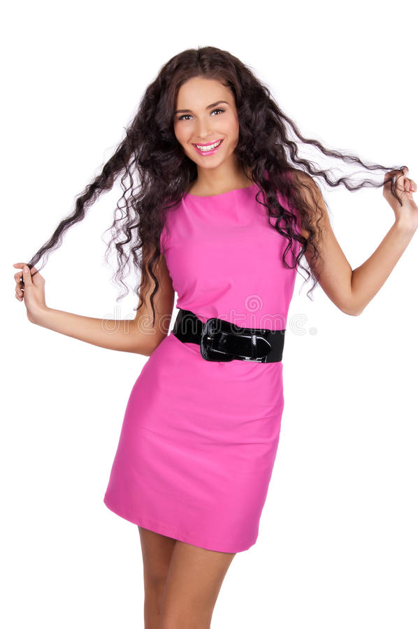 Beautiful happy young woman smiling stock photo