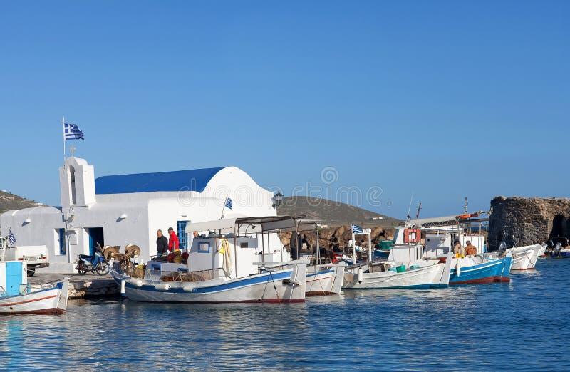 Beautiful harbor of Naoussa on Paros Island, Cyclades, Greece. Naoussa, Paros island, Greece - March 13, 2018: Beautiful harbor of Naoussa on Paros Island royalty free stock image