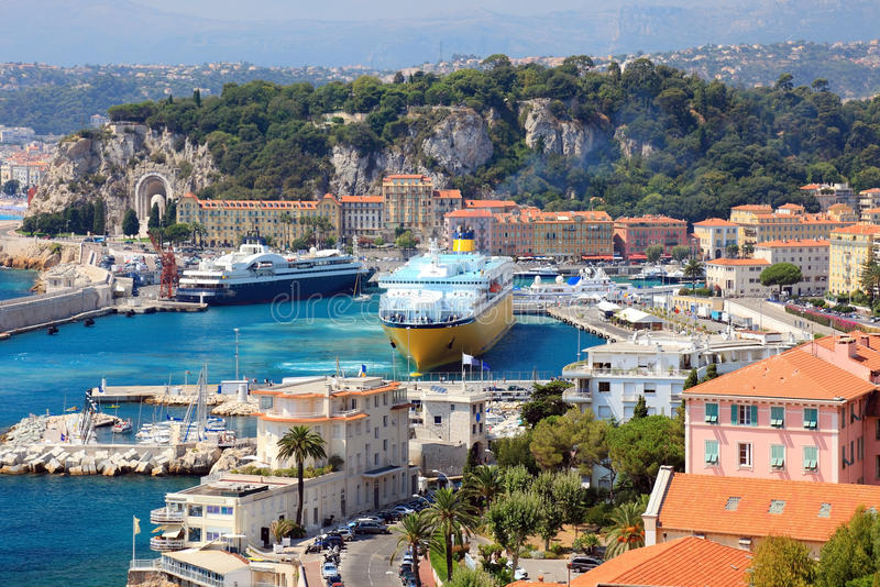 France Nice harbour harbor port view french riviera cote dazur cruise ships ferry Mediterranean sea cruiser ocean liner vacation royalty free stock images
