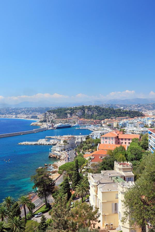 Nice France french riviera view Mediterranean Cote sea Europe travel water summer blue coast panoramic landscape vacation bay azur royalty free stock photography