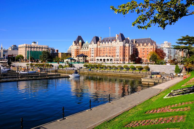 Beautiful harbor of Victoria, Vancouver Island, BC, Canada. View of the beautiful harbor of Victoria, Vancouver Island, BC, Canada stock photos