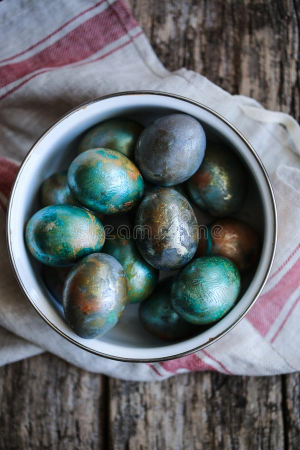 Marble Easter eggs stock image