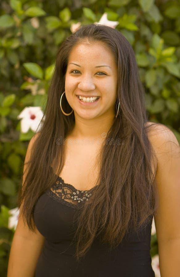 Beautiful Hawaiian Girl Smiling. At the Camera royalty free stock images