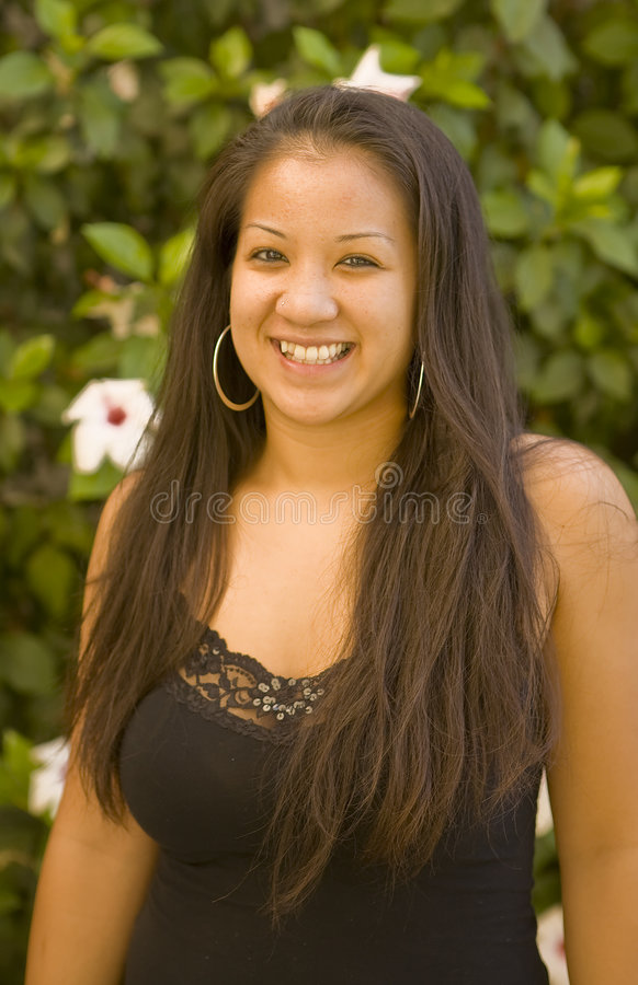 Beautiful Hawaiian Girl Smiling royalty free stock images
