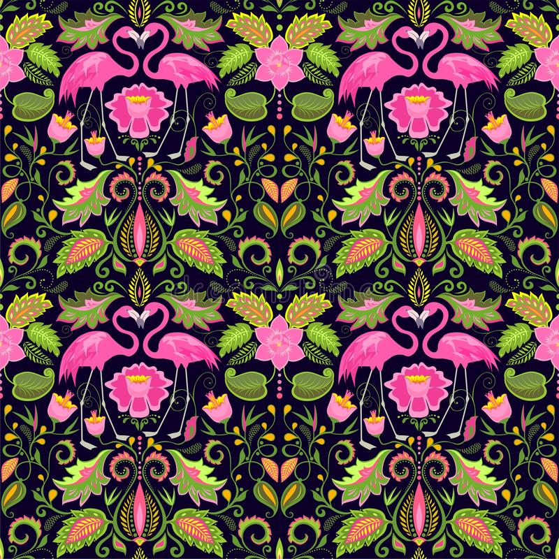 Beautiful Hawaiian seamless wallpaper with exotic flowers, tropical leaves and pink flamingo for wedding design, fabric, textile a. Beautiful Hawaiian seamless stock illustration
