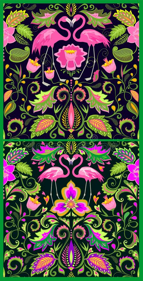 Beautiful Hawaiian seamless wallpapers variation with exotic flowers, tropical leaves and pink flamingo for carpet, fabric, textil. Beautiful Hawaiian seamless vector illustration