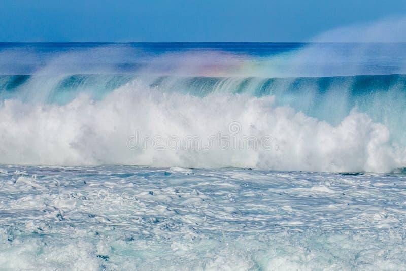 Beautiful Hawaiian Waves on the North Shore. Strong surf on the North Shore of Oahu, Hawaii royalty free stock images