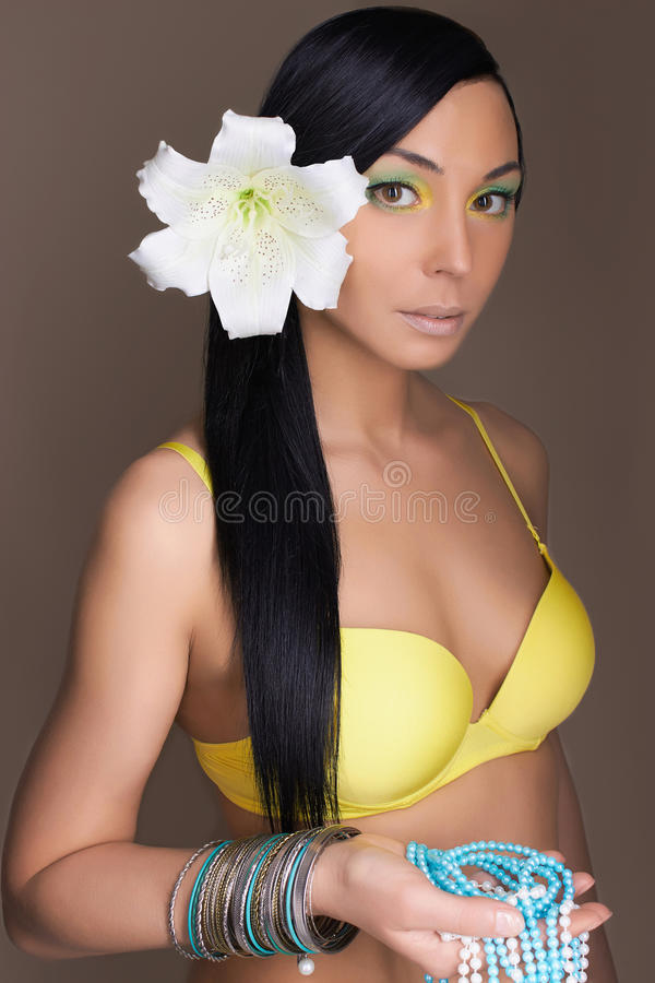 Beautiful hawaiian woman with Flower stock image