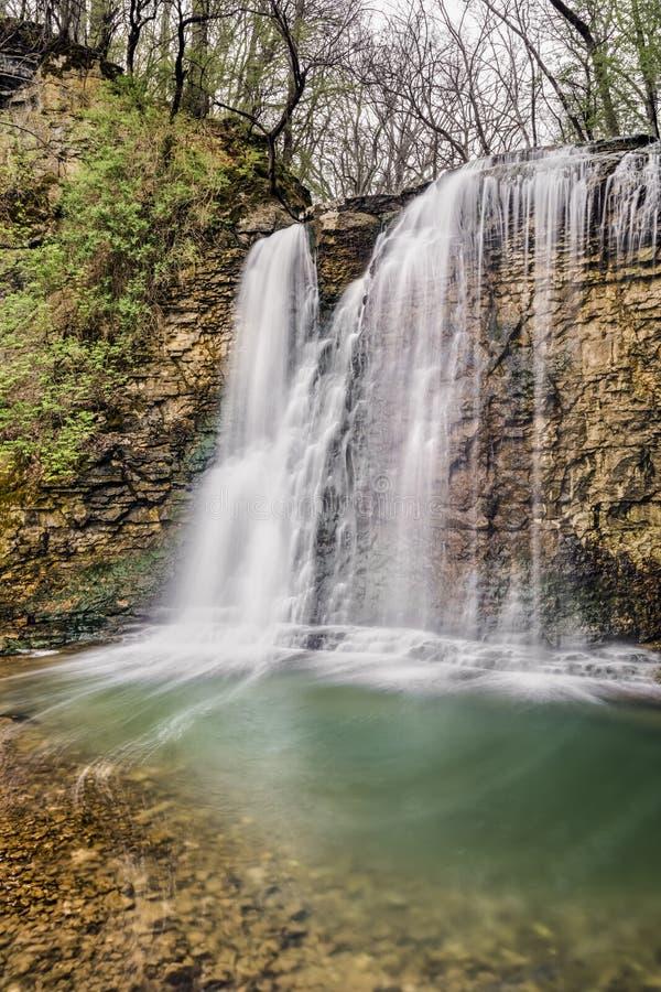 Waterfall on Hayden Run - Columbus, Ohio. Beautiful Hayden Run Falls splashes down a rocky cliff in Columbus, Ohio stock images