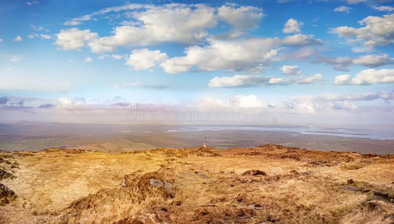 Beautiful hazy landscape at the foot of the Mount Gabriel stock photo
