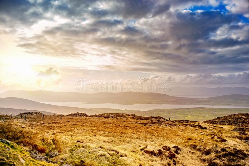 Beautiful hazy landscape at the foot of the Mount Gabriel royalty free stock images