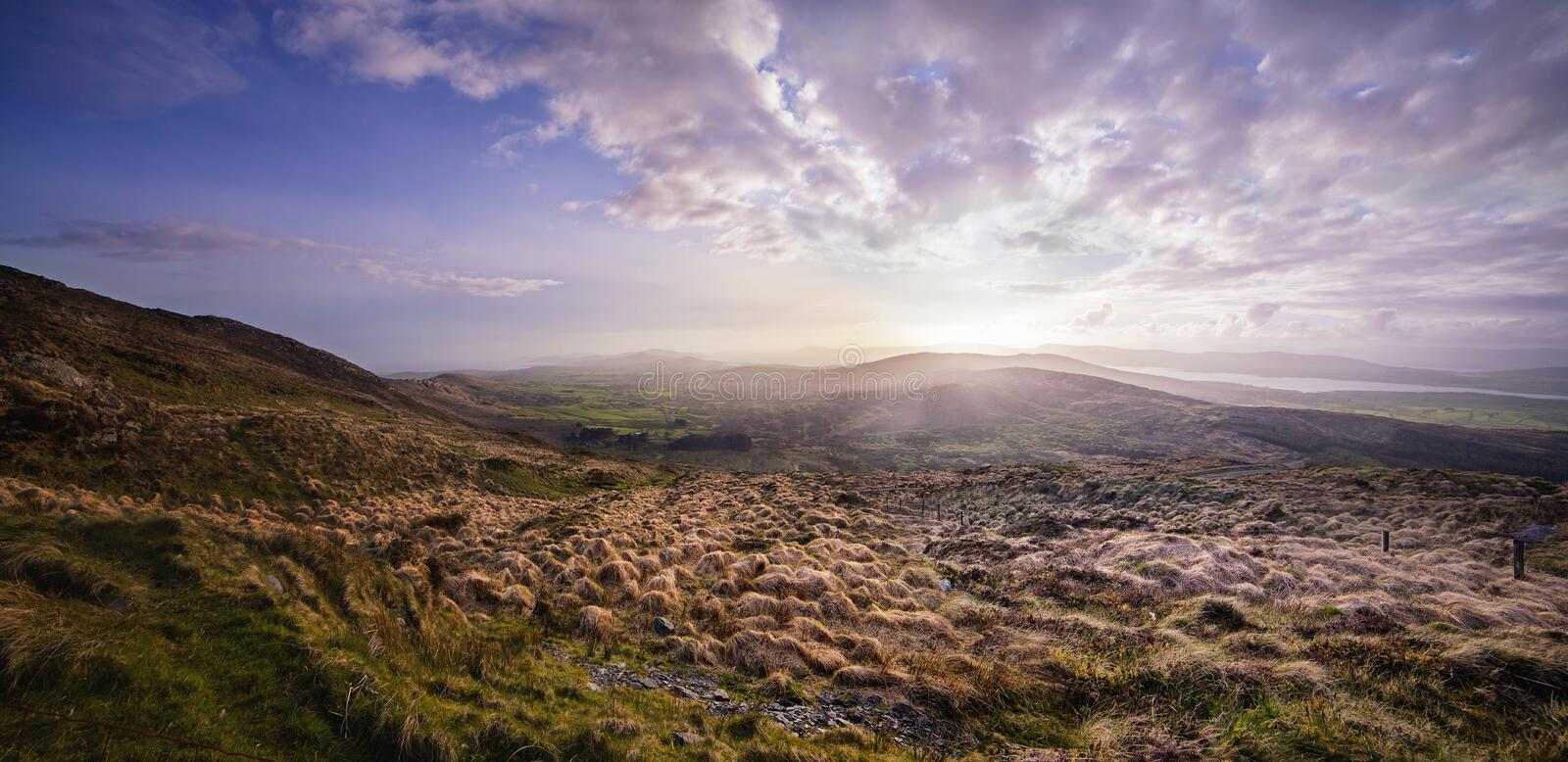 Beautiful hazy sunset at the foot of the Mount Gabriel stock photo