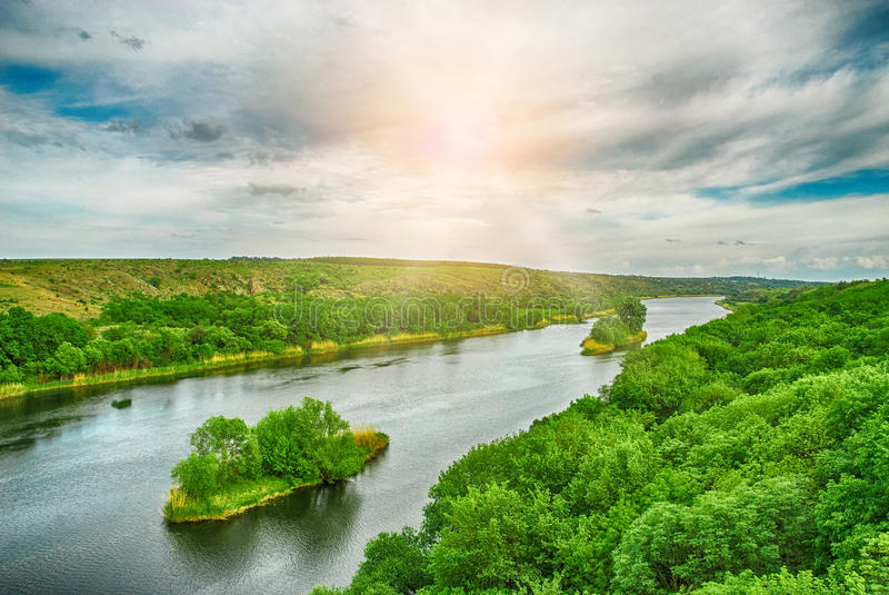 Beautiful HDR landscape of wild river stock photography