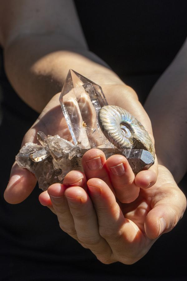 Beautiful Healing Crystals Close Up in hands.  stock images