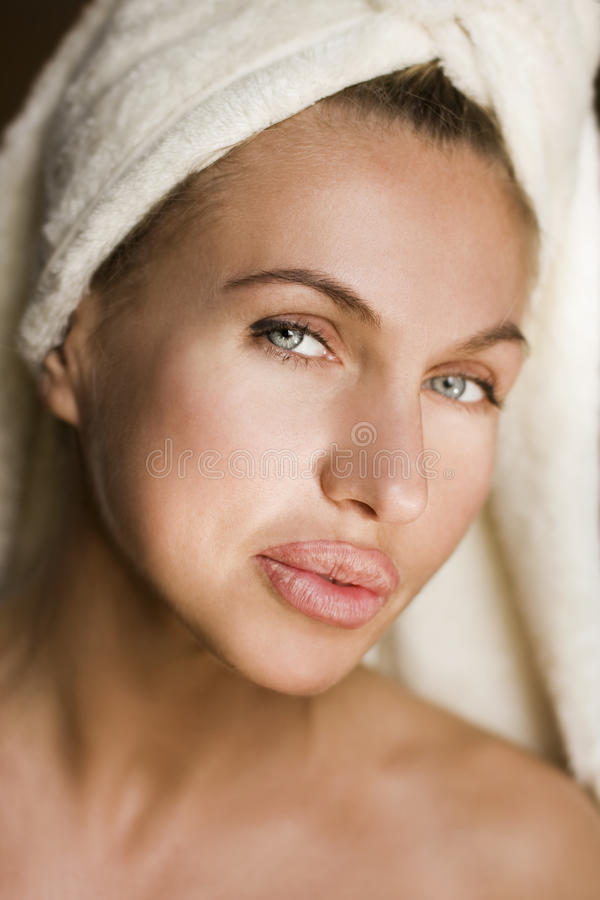 Beautiful health woman face. With clean purity skin royalty free stock photo