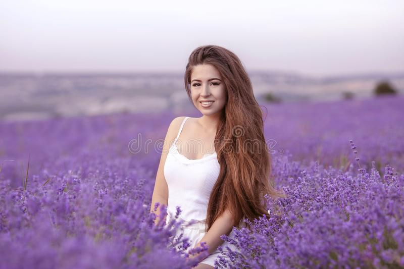 Beautiful healthy hair. Young teen girl brunette with long shiny royalty free stock image