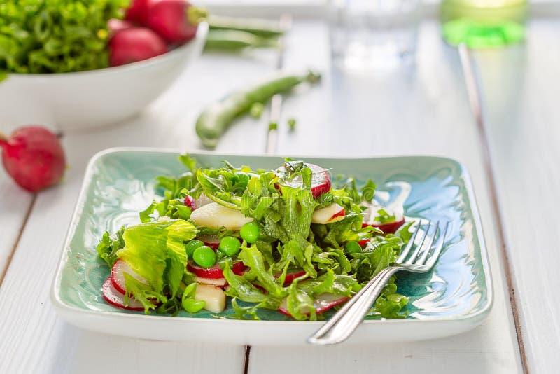 Beautiful Healthy Paleo Green Salad with Green Peas and Radish stock photos