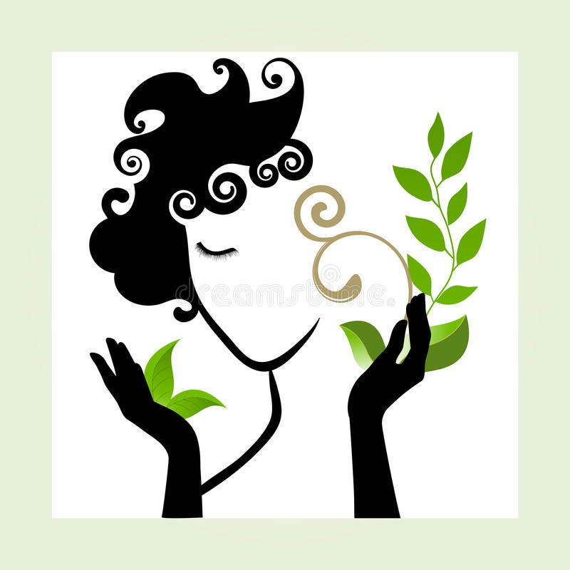 Beautiful healthy woman icon. Fresh Beautiful healthy woman icon with leaves stock illustration