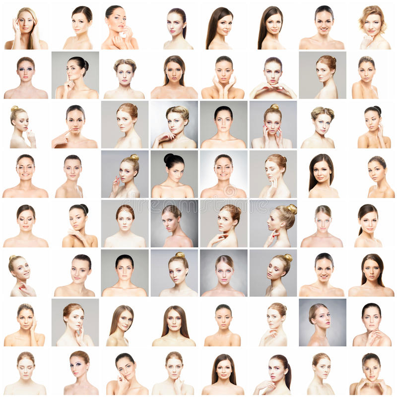 Beautiful, healthy and young female portraits collection stock image