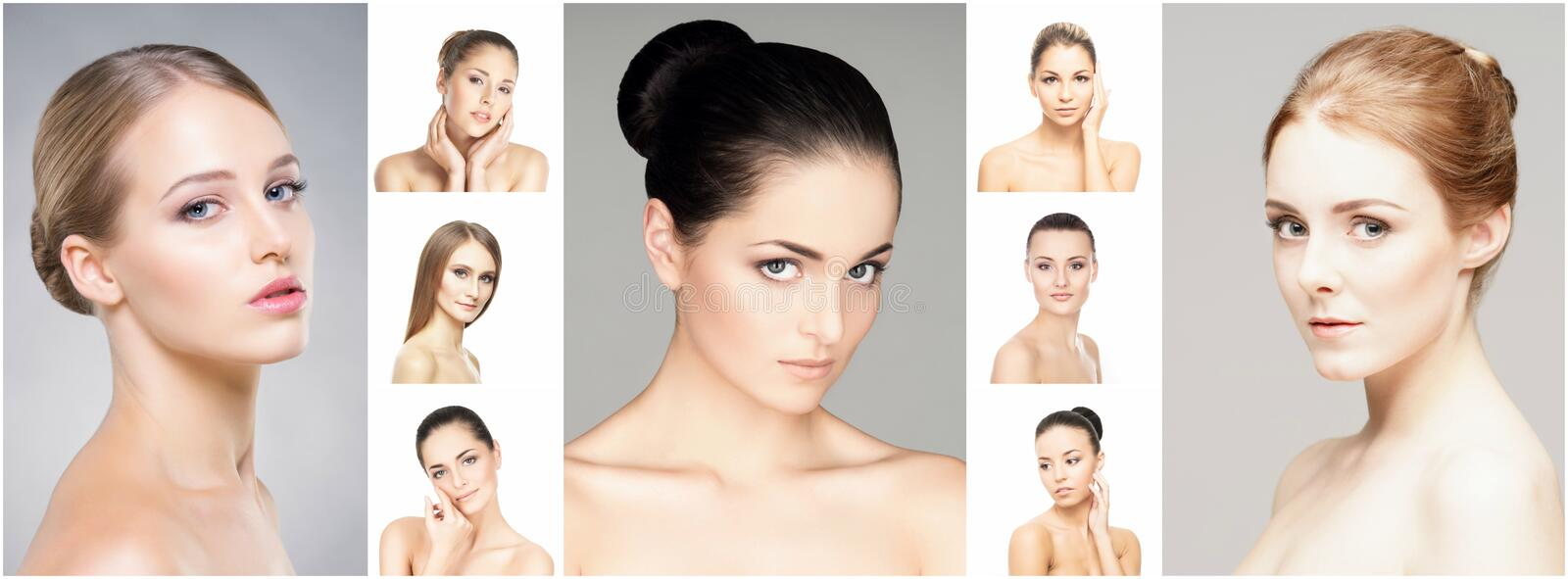 Beautiful, healthy and young female portraits collection royalty free stock photography