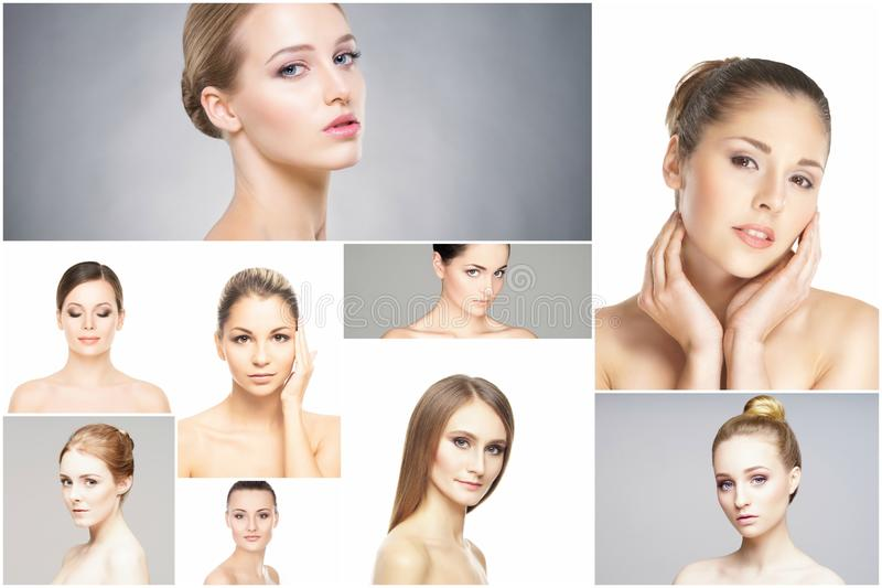 Collage of portraits of young women in makeup royalty free stock image