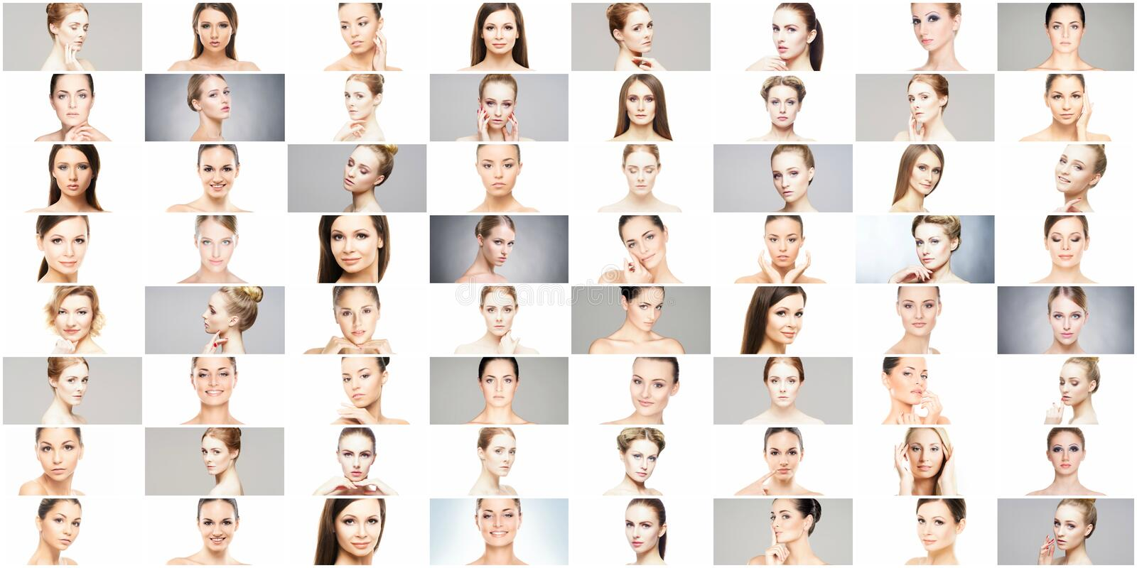 Beautiful, healthy and young female portraits collection royalty free stock photos