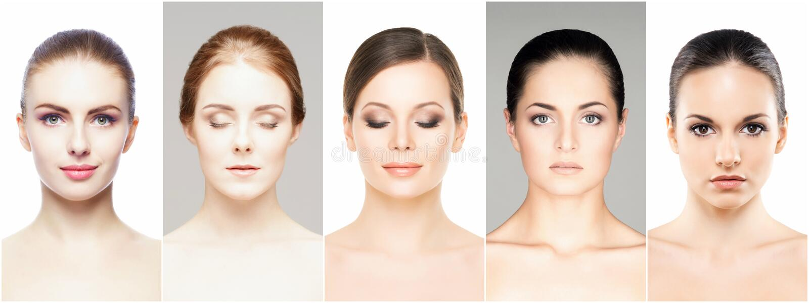 Beautiful, healthy and young female portraits collection stock photography