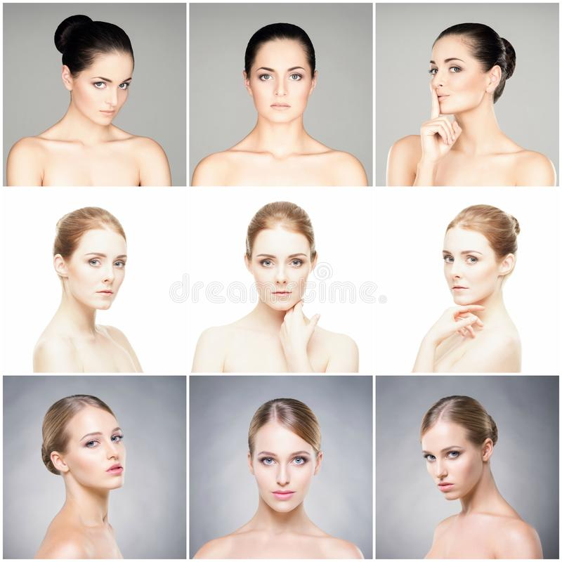 Beautiful, healthy and young female portraits collection. Collage of different women faces. Face lifting, skincare, plastic surger royalty free stock photo