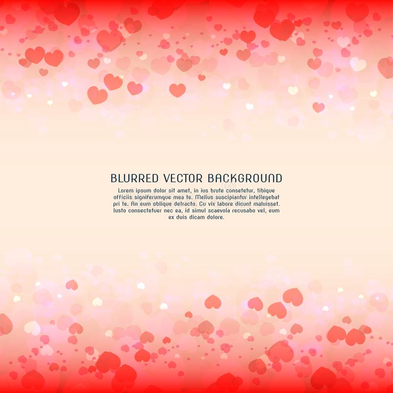 Beautiful heart blurred vector background for valentine day royalty free stock image