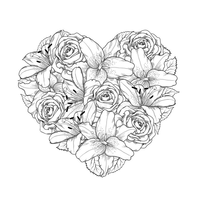 Black Flower Heart Shape Illustration Tattoo On White: Beautiful Heart Decorated By Flowers, Roses And Li Stock