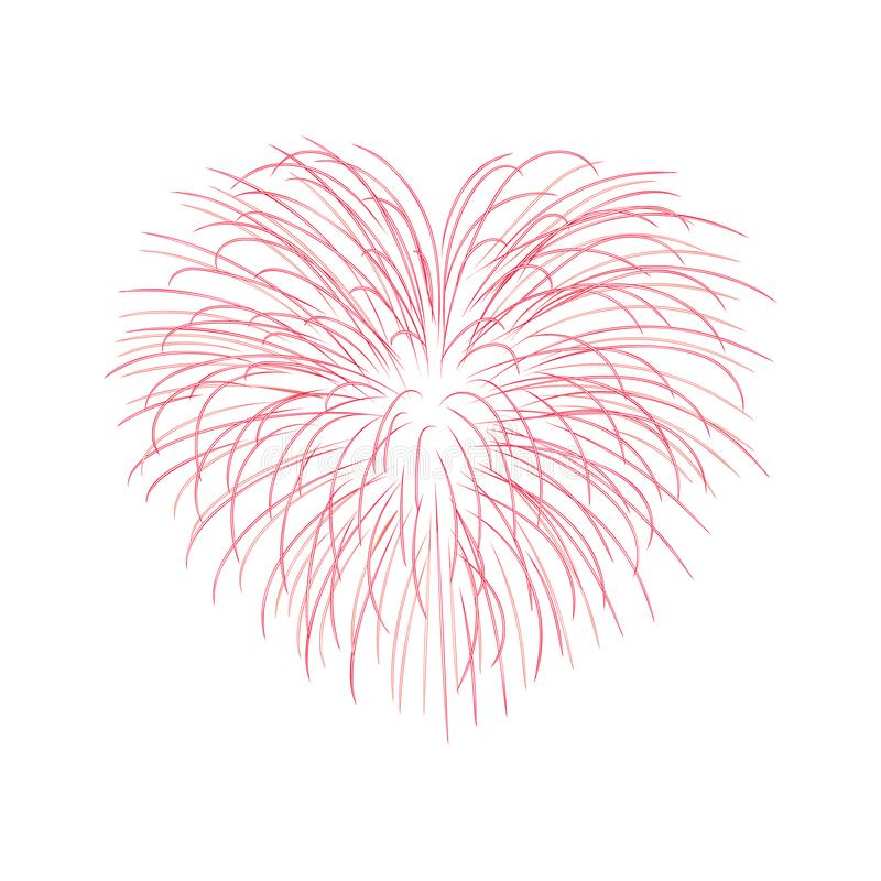 Beautiful heart-firework. Bright romantic salute, isolated on white background. Love decoration flat firework for vector illustration