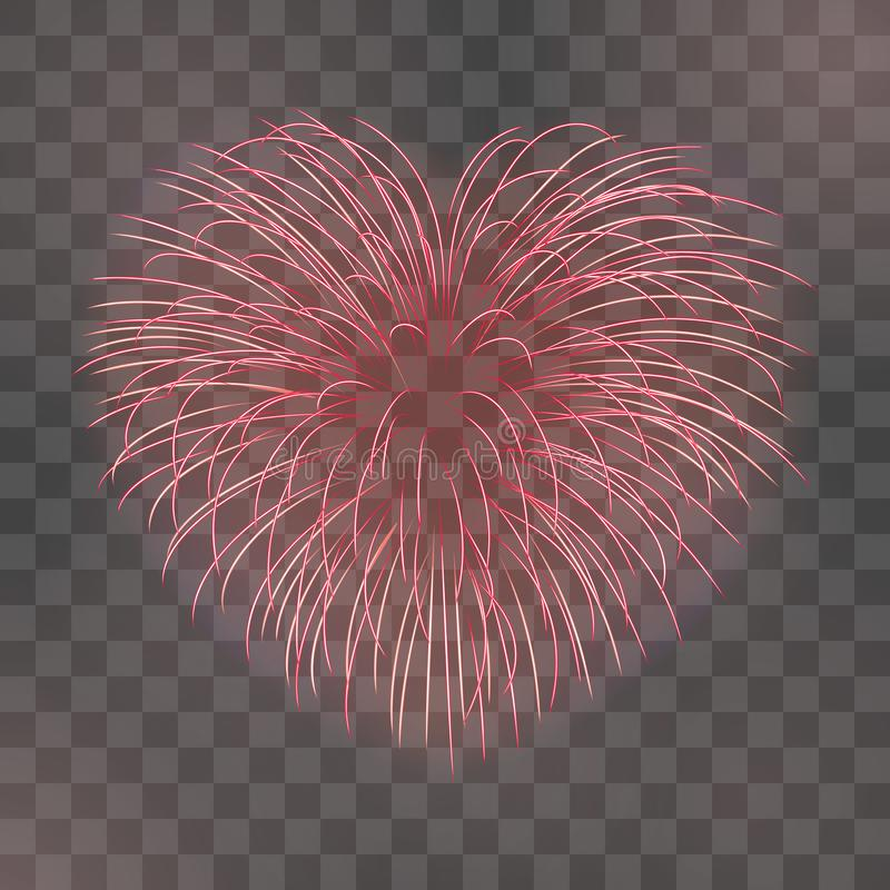 Beautiful heart-firework. Red romantic firework, isolated transparent background. Light love decoration salute for stock illustration