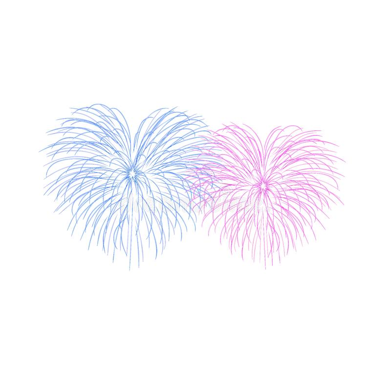 Beautiful heart-fireworks. Couple romantic salute isolated on white background. Light love decoration flat fireworks for vector illustration