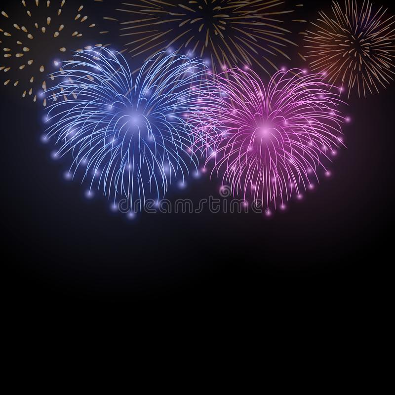 Beautiful heart-fireworks. Cute background card. Bright romantic couple fireworks isolated on black. Light love salute stock illustration