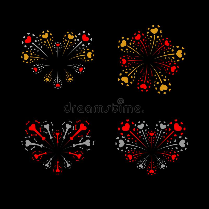 Beautiful heart-fireworks set. Bright romantic salute isolated on black background. Love decoration flat firework stock illustration