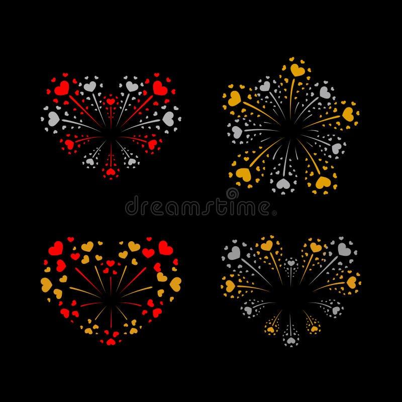 Beautiful heart-fireworks set. Bright romantic salute isolated on black background. Love decoration flat firework vector illustration
