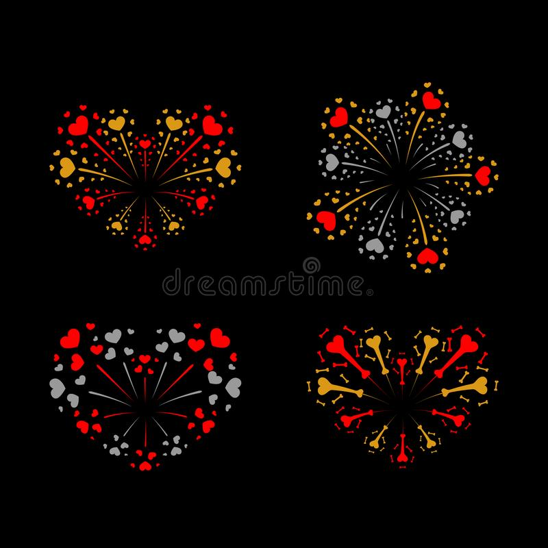 Beautiful heart-fireworks set. Bright romantic salute isolated on black background. Love decoration flat firework royalty free illustration
