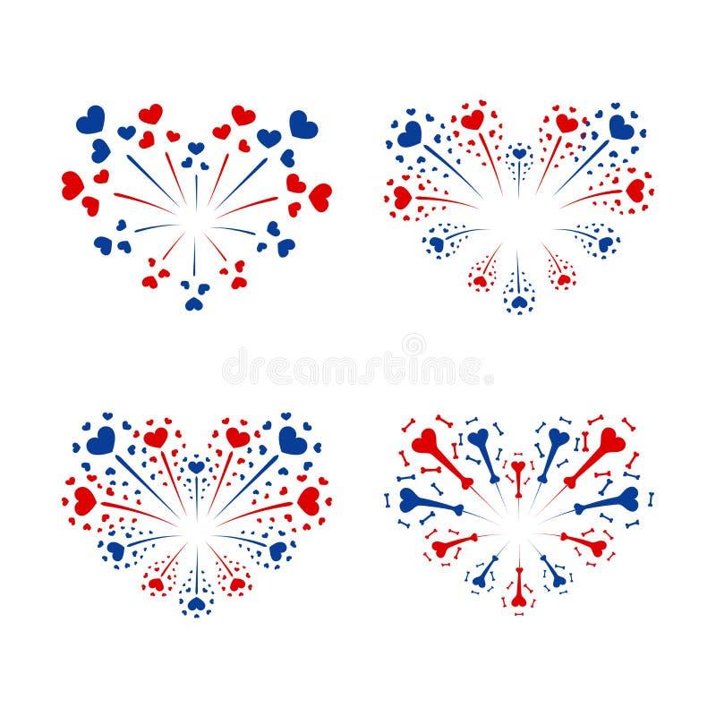 Beautiful heart-fireworks set. Bright romantic salute isolated on white background. Love decoration flat firework vector illustration