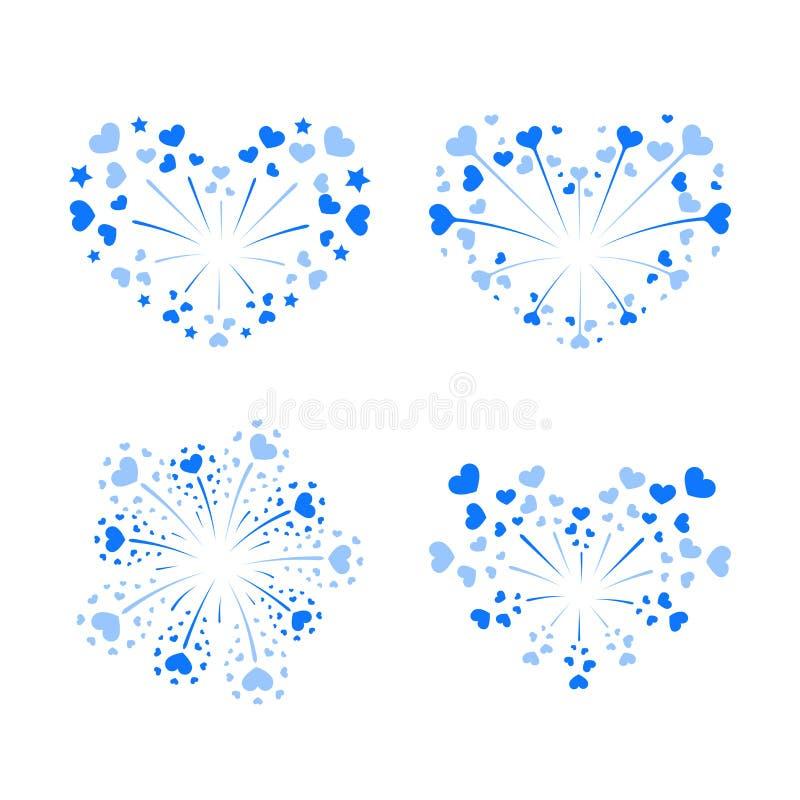 Beautiful heart-fireworks set. Bright romantic salute isolated on white background. Love decoration flat firework royalty free illustration