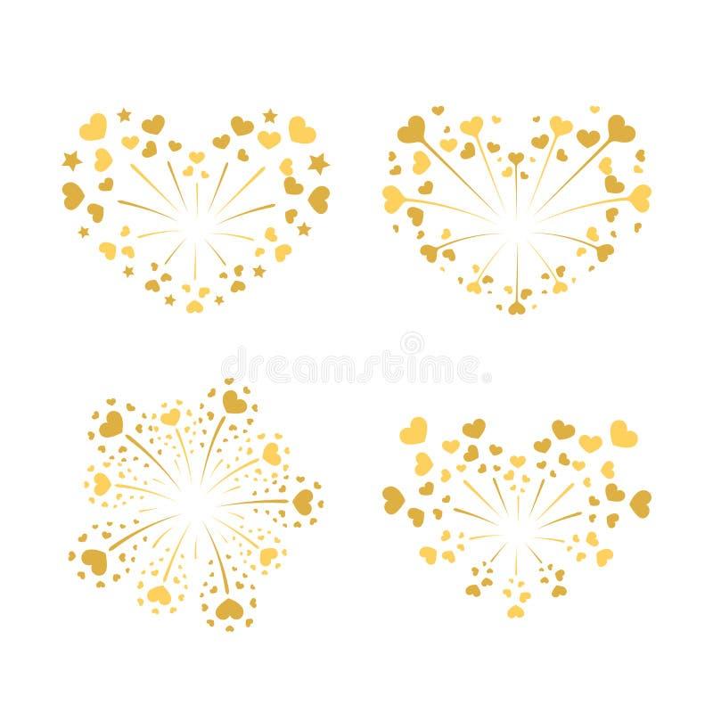 Beautiful heart-fireworks set. Gold romantic salute isolated on white background. Love decoration flat firework. Symbol vector illustration