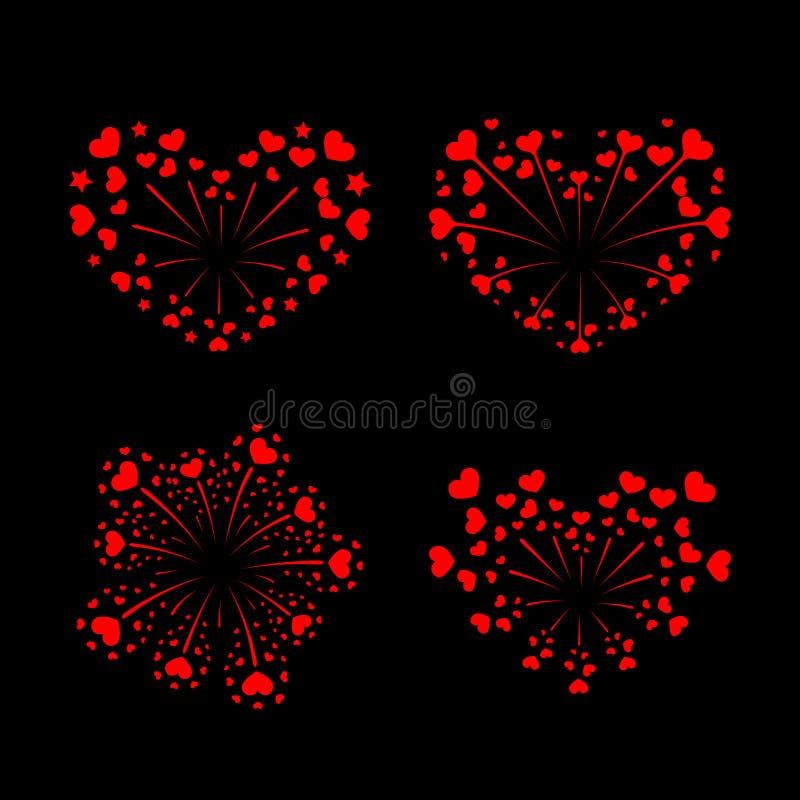 Beautiful heart-fireworks set. Red romantic salute isolated on black background. Love decoration flat firework. Symbol vector illustration