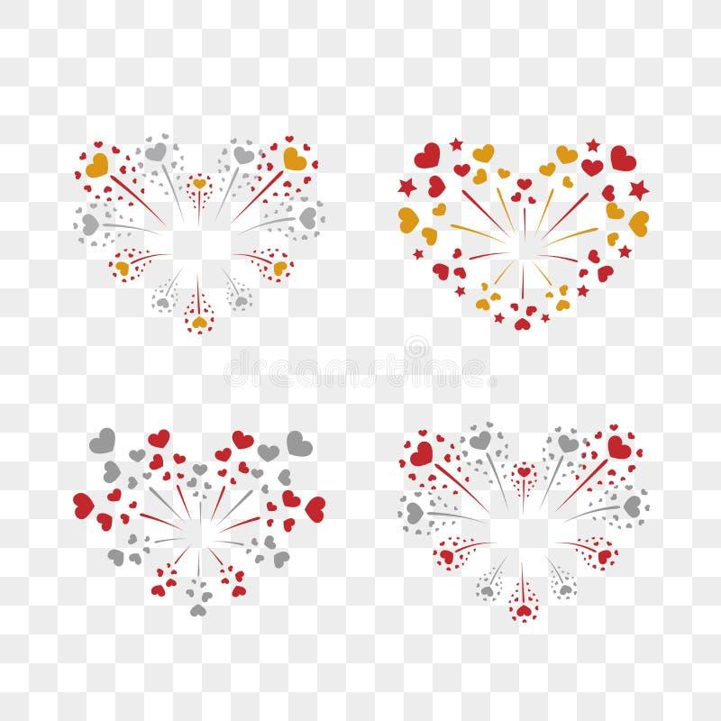 Beautiful heart-fireworks set. Romantic salute isolated on transparent background. Love decoration flat firework. Symbol stock illustration
