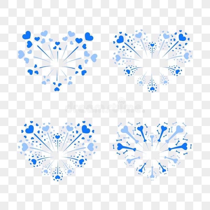 Beautiful heart-fireworks set. Romantic salute isolated on transparent background. Love decoration flat firework. Symbol royalty free illustration